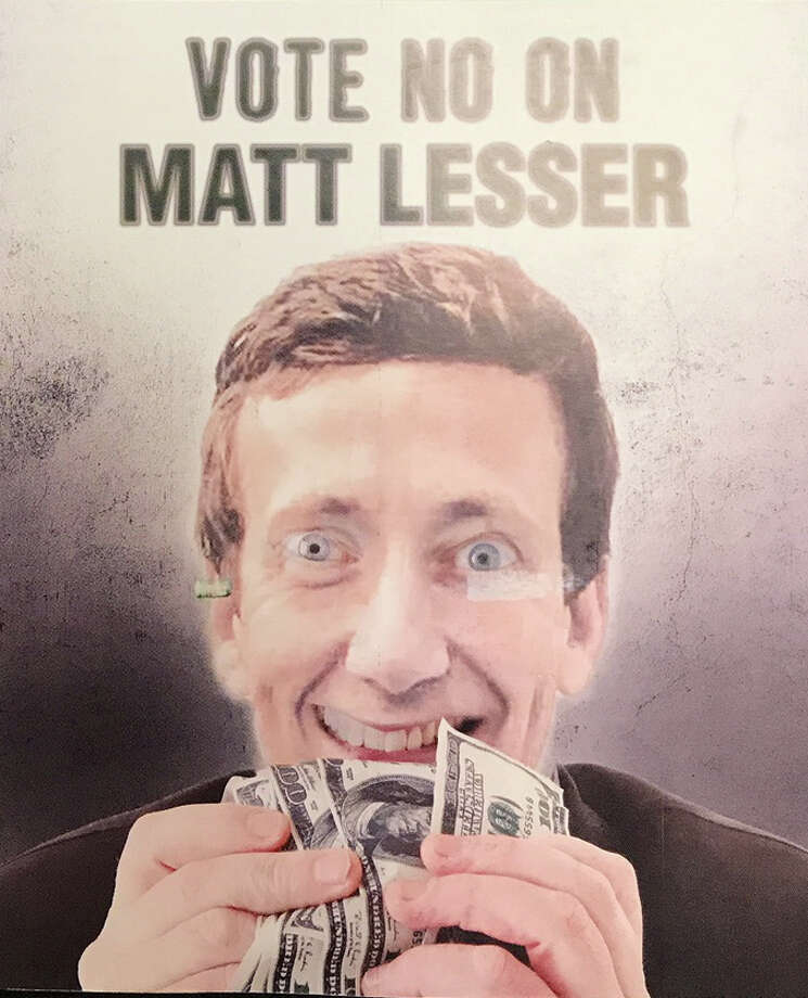 This is a photo of a campaign mailer sent by Republican Ed Charamut opposing state Rep. Matt Lesser, who is Jewish. Charamut and Lesser are campaigning for state Senate in the 9th District containing Cromwell, Rocky Hill, Newington and parts of Middletown and Wethersfield. Photo: Emilie Munson, Hearst Connecticut Media / Connecticut Post