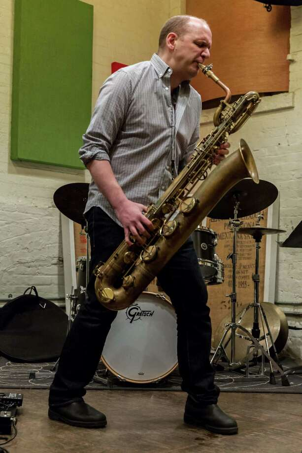 Josh Sinton with his baritone sax. Photo: Scott Friedlander / Contributed Photo / Photography by Scott Friedlander ©2016. All rights reserved.