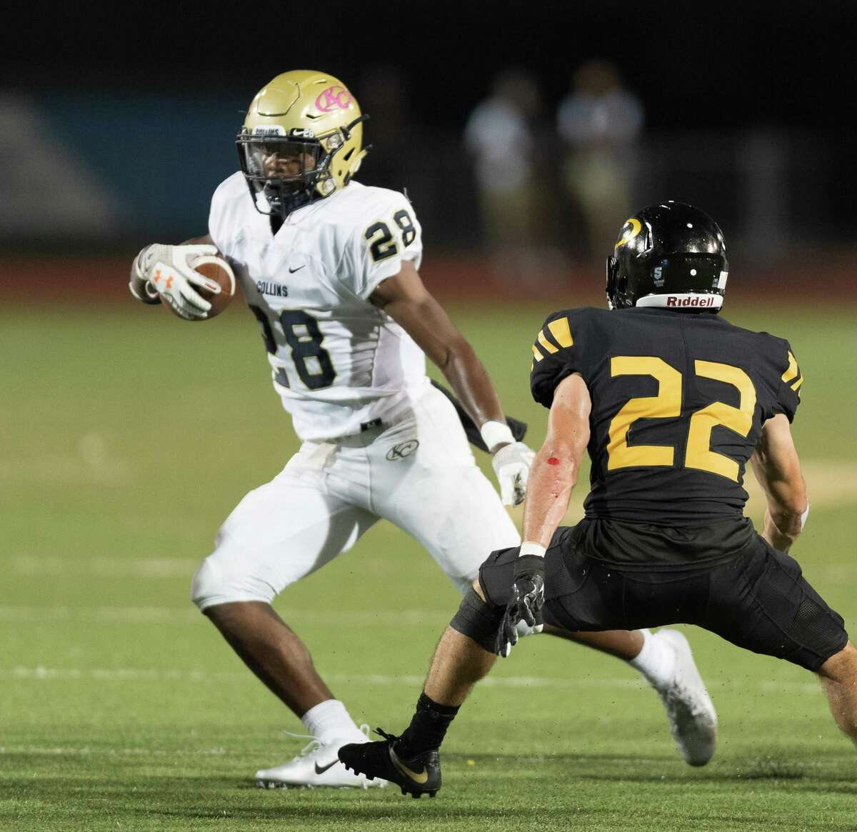 Senior Isaiah Spiller (28) of the Klein Collins Tigers was named District 15-6A Offensive MVP for the second straight year.