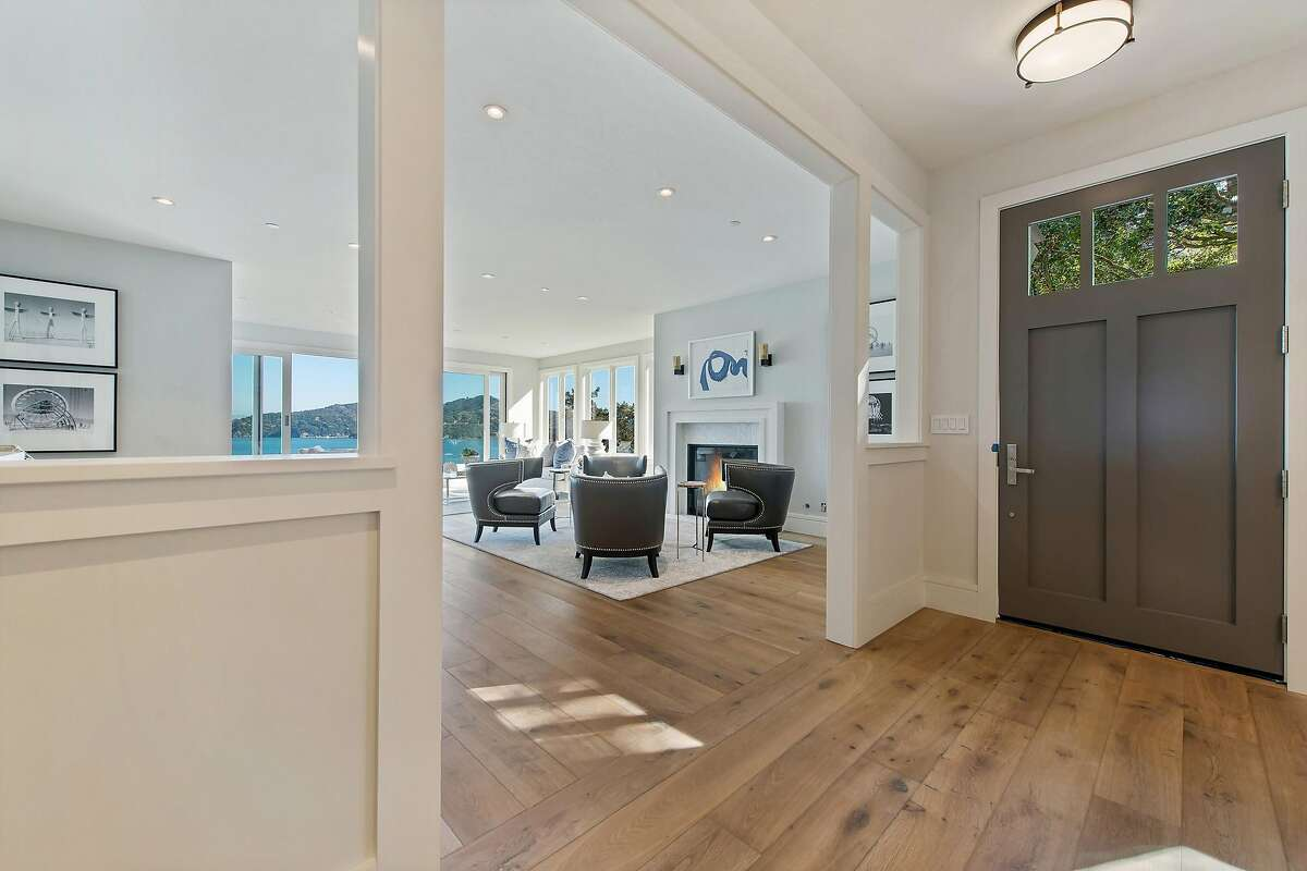 Seven-inch European white oak flooring lines the interior of the Belvedere home.