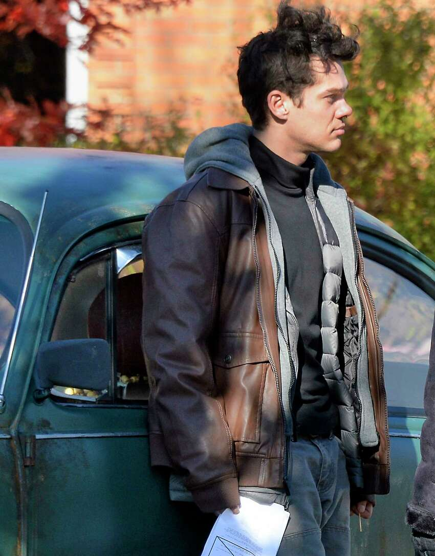 Actor Ellar Coltrane on the set during filming of