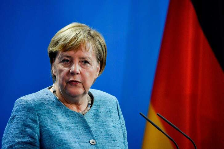 """German Chancellor Angela Merkel give a joint press conference with Egypt's President on the sidelines of the """"Compact with Africa"""" conference in Berlin on October 30, 2018. (Photo by John MACDOUGALL / AFP)JOHN MACDOUGALL/AFP/Getty Images"""