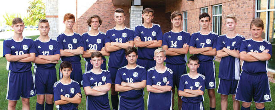 Players on the Maryville Christian School boys' soccer team include, front row left to right, Dylan Brown, Titus Hendrick, Colton Huchel, Noah Jones and Brock Luebbert. In the back row, from left to right, are Owen Verning, Isaac Moye, Chase Young, Drew Stroud, Grant Combs, Drake Huchel, Conner Calvert, Camden Ambuehl and Owen Stroud. Photo: For The Intelligencer