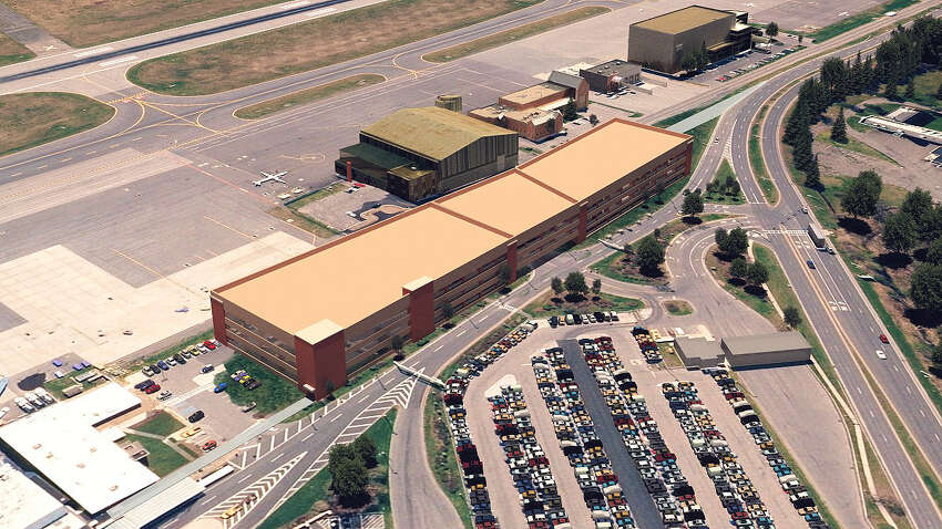 An artists's rendering of the new 1,000-car parking garage at Albany International Airport.