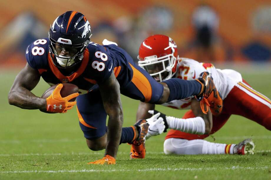 Kansas City Chiefs cornerback Kendall Fuller (23) pulls down Denver Broncos wide receiver Demaryius Thomas (88) after the catch during the first half of an NFL football game, Monday, Oct. 1, 2018, in Denver. (AP Photo/Jack Dempsey) Photo: Jack Dempsey, FRE / Associated Press / Copyright 2018 The Associated Press. All rights reserved