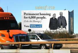 Salesforce uses a billboard to campaign for passage of  local ballot measure Prop. C, which would commit the city to tax big businesses $300 million a year to pay for homeless services seen on Harrison St. on Tuesday, Oct. 30, 2018, in San Francisco, Calif.