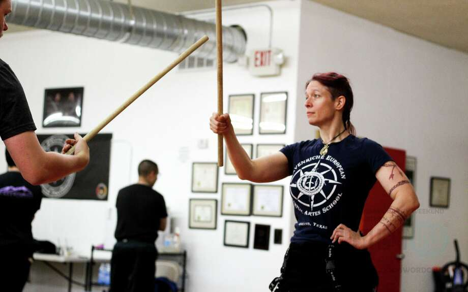"Local fitness trainer Skye Hilton, right, is appearing on the History channel program ""Forged in Fire: Knife or Death"" 9 p.m. Wednesday . A story about her work as a fitness trainer and instructor will appear in a future Reporter-Telegram edition. Photo:  Courtesy Photo"