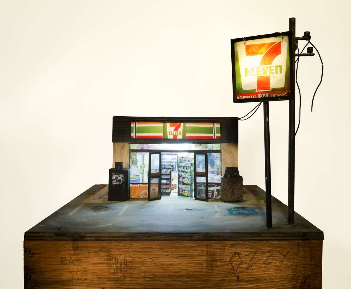 """An exhibit called ?""""Downsized: Small-Scale Sculptures by Contemporary Artists?"""" will open at the Bruce Museum on Nov. 3. Above is ?""""7 Eleven?"""" by Tracey Snelling, made of wood, paint, plastic, lights, cold cathode lights, LCD screen, media player, speakers and a transformer."""