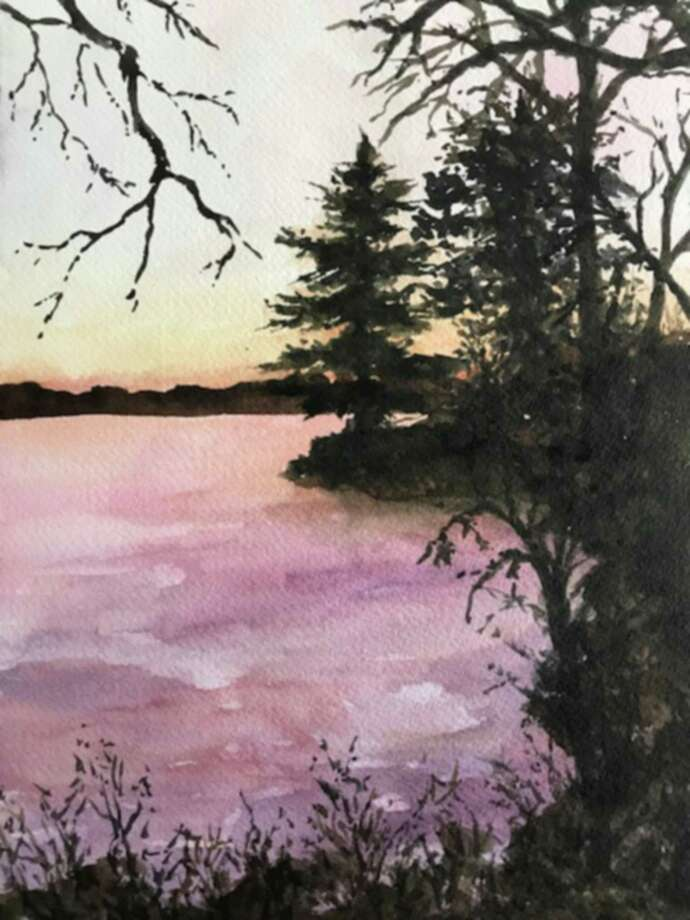 "The Valentine H. Zahn Community Gallery will hold a reception for its new exhibit, which will feature work from Shoreline Artists Workshop, on Nov. 8. Above, ""Sunset on the Lake"" by Elin Larson. Photo: Contributed Photo /"