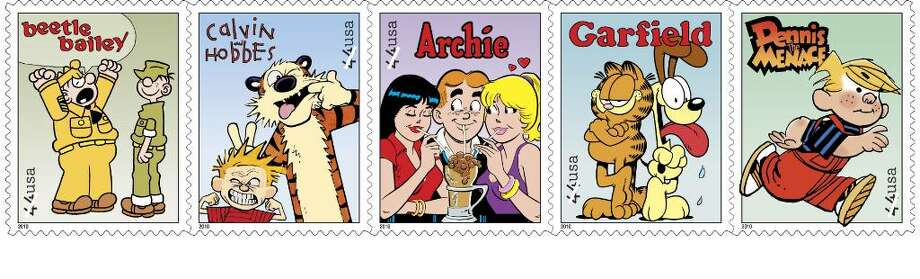 These undated handout images provided by the US Postal Service shows postage stamps featuring comic strips, from left, Beetle Bailey; Calvin and Hobbes; Archie; Garfield and Dennis the Menace, part of a set of five Sunday comics stamps going on sale nationwide with dedication ceremonies at the cartoon museum at Ohio State University, Friday, July 16. Photo: Anonymous, ASSOCIATED PRESS / USPS