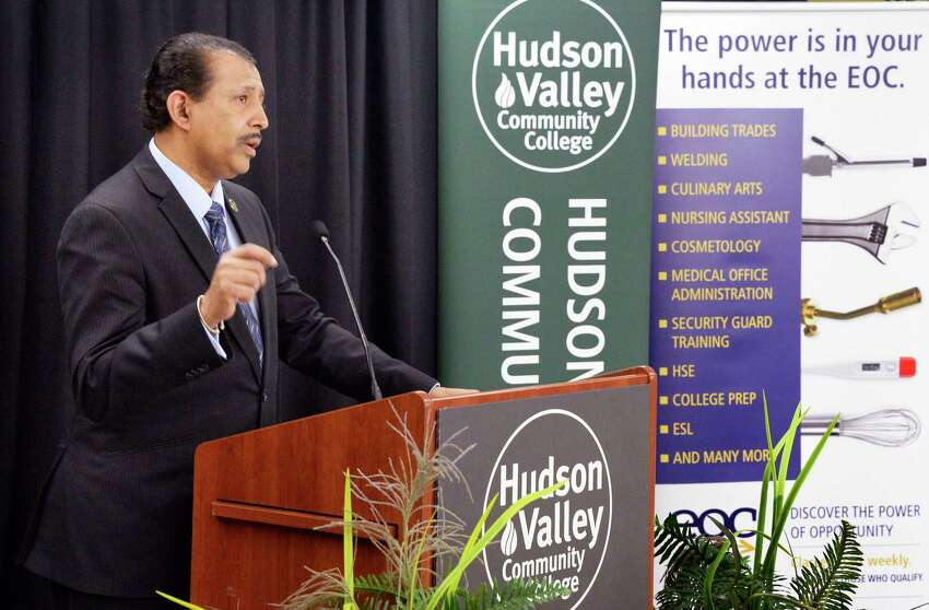 Roger Ramsammy, president, Hudson Valley Community College speaks at opening ceremonies for their new HVCC Albany Center for Education Tuesday Oct. 30, 2018 in Albany, NY. (John Carl D'Annibale/Times Union)