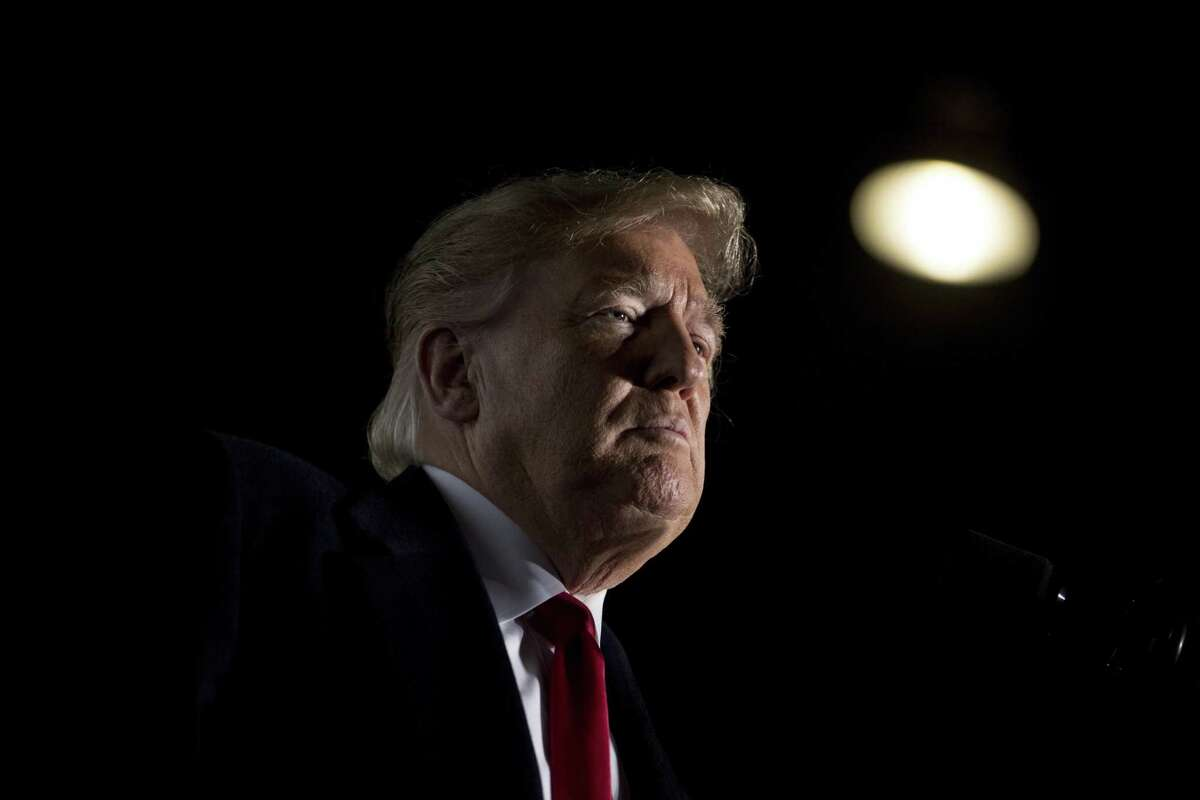 FILE - In this Oct. 27, 2018, file photo, President Donald Trump pauses while speaking at a rally at Southern Illinois Airport in Murphysboro, Ill. Trump says he wants to order the end of the constitutional right to citizenship for babies of non-citizens and unauthorized immigrants born in the United States. The president's comments to