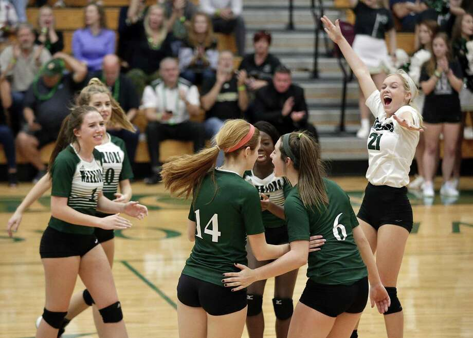 The Woodlands Christian players celebrate winning their match against Austin Veritas at The Woodlands Christian Academy Tuesday, Oct. 30, 2018 in The Woodlands, TX. Photo: Michael Wyke, Houston Chronicle / Contributor / © 2018 Houston Chronicle