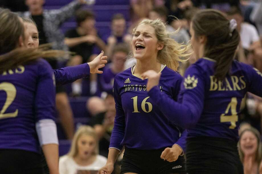 Madison Chandler of Montgomery (16) celebrates with her teammates after Montgomery scored during a Region III-5A bi-district playoff match Tuesday, Oct. 30, 2018 at Montgomery High School. Photo: Cody Bahn, Houston Chronicle / Staff Photographer / © 2018 Houston Chronicle