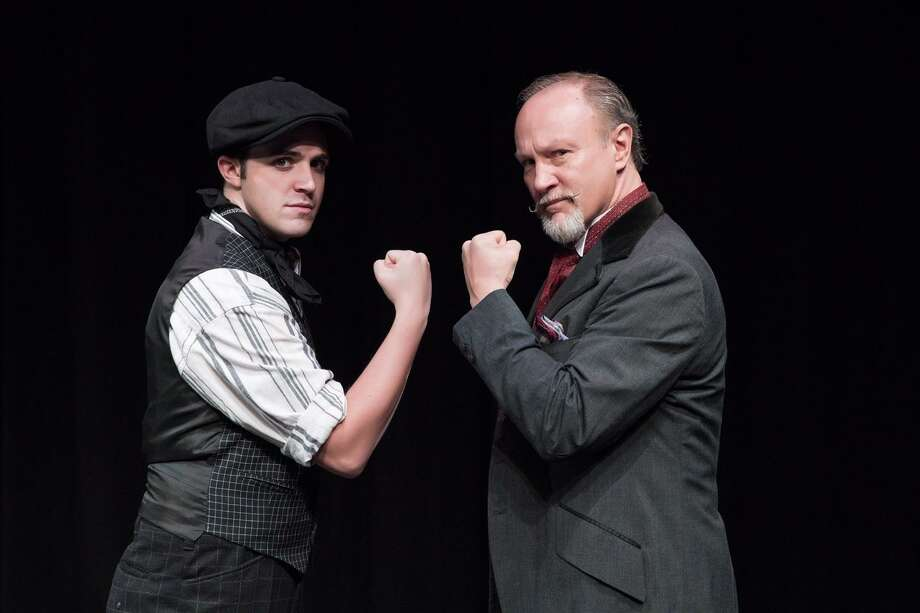 "The Warner Stage Company will present Disney's ""Newsies"" with performances starting Saturday, Nov. 3 and continuing on weekends through Nov. 11. Above are Noel Roberge as Jack Kelly and Dick Terhune, right, as Joseph Pulitzer. Photo: Luke Haughwøut & Mandi Martini / Contributed Photo /"