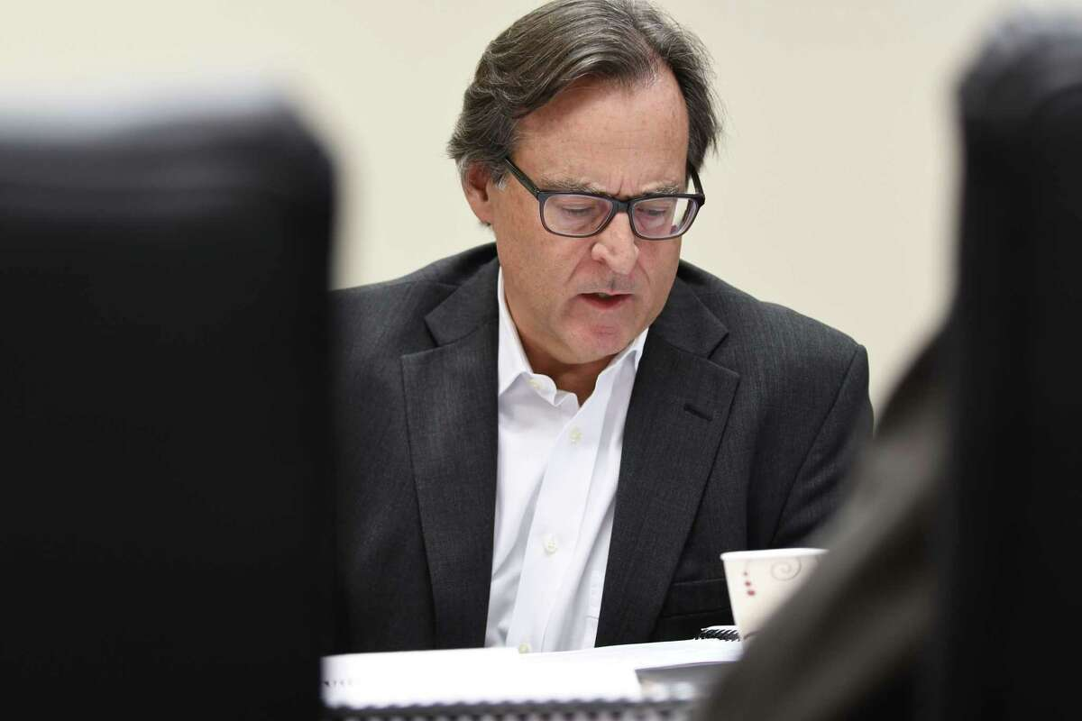 David J. McNamara, a commissioner with the Joint Commission of Public Ethics, asks for clarification on language in an amendment during a JCOPE meeting on Tuesday, Oct. 30, 2018, in Albany, N.Y. (Will Waldron/Times Union)