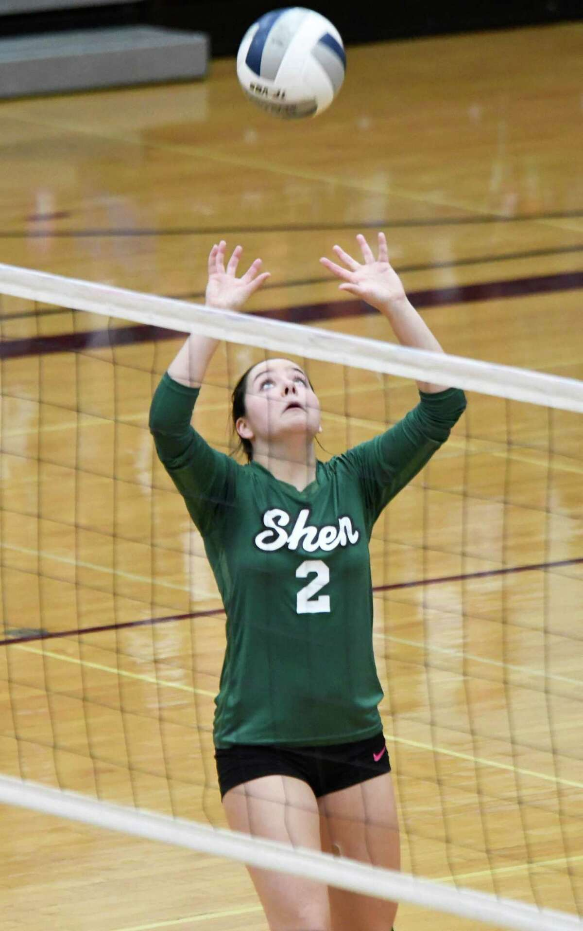 Shenendehowa's Ashley Lavigne sets the ball during a game against Burnt Hills on Tuesday, Sept. 25, 2018, in Burnt Hills, N.Y. (Jenn March, Special to the Post-Star)