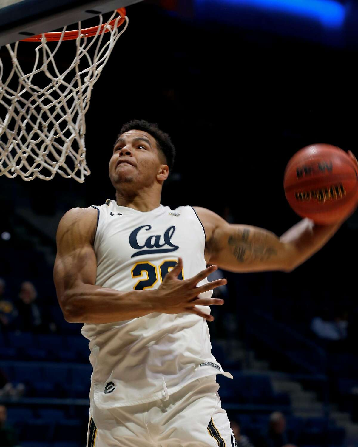 Matt Bradley moves in for a layup in the California Golden Bears exhibition basketball game against the Cal State East Bay Pioneers at Haas Pavilion in Berkeley, Calif. on Tuesday, Oct. 30, 2018.