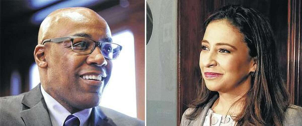 Democratic state Sen. Kwame Raoul (left) and Republican Erika Harold will square off Tuesday to replace departing Democratic incumbent Lisa Madigan.
