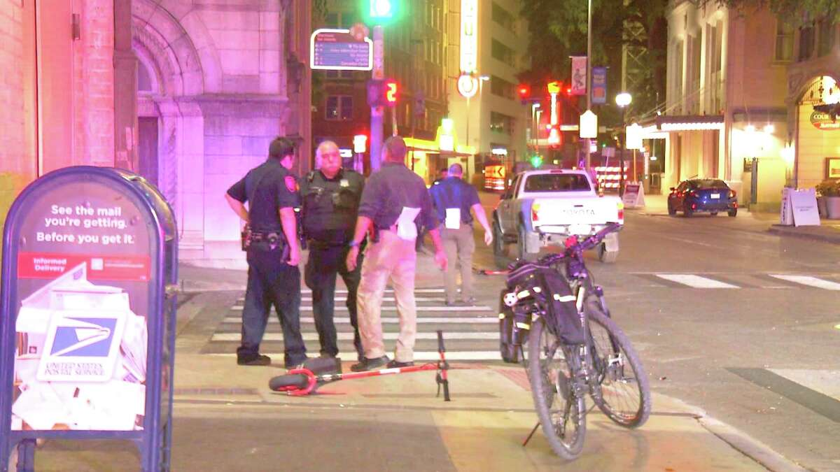 The victim, who was in his 30s, was riding a Razor scooter on a sidewalk near North St. Mary's and College streets at about 2:30 a.m. when he made a right turn onto the street, straight into oncoming traffic.