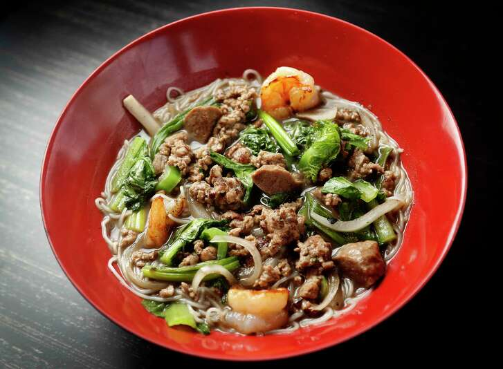 Boat Noodles-Rice Noodles, bo vien (beef meatballs), shrimp, ground pork, yu choy, and sprouts entree at Sing, a new Singaporean restaurant in the Heights from pop-up chef Cuc Lam and Lasco Enterprises founder Jerry Lasco, Tuesday, Oct. 30, 2018, in Houston.