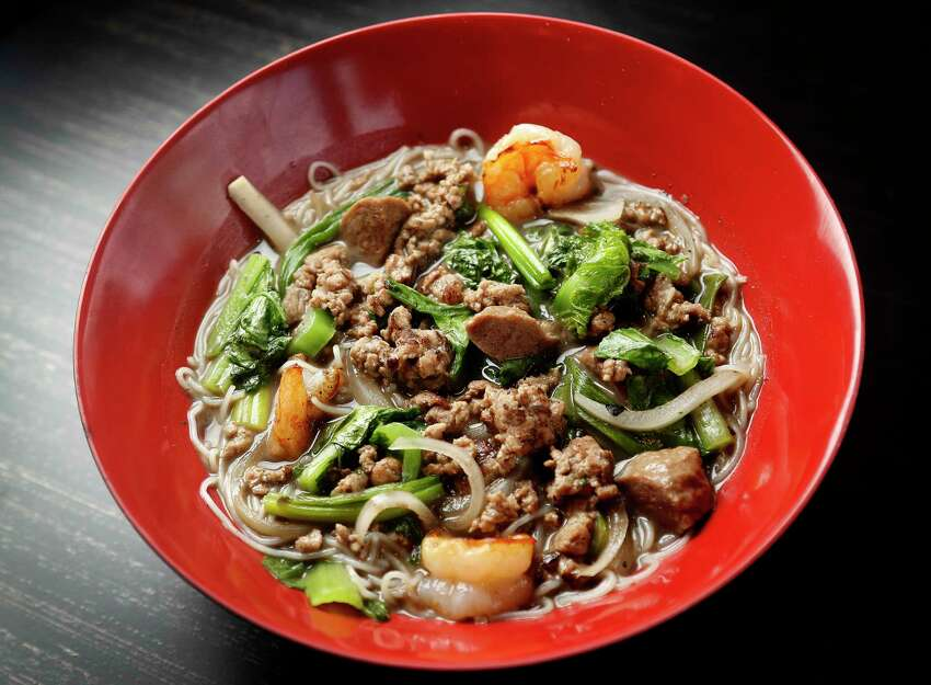 Boat Noodles: Rice noodle soup with bo vien (beef meatballs), shrimp, ground pork, yu choy, and sprouts at Sing, a new Singaporean-inspired restaurant in the Heights.