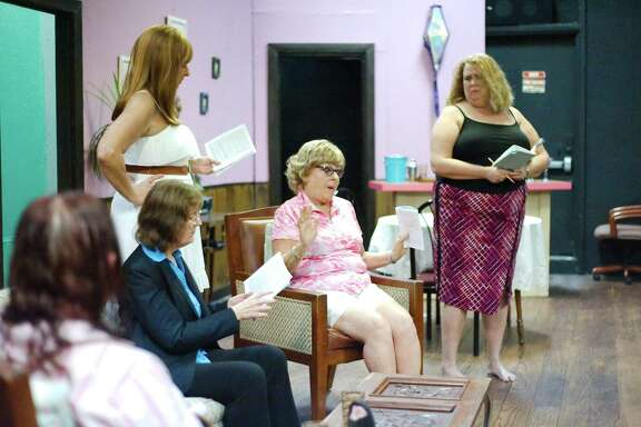 """Joanna Alexander, left, Bonnie Reichel, Susan Hamel, Julie Owen and Coleen Reyes rehearse a scene from """"The Dixie Swim Club"""" at Bay Area Harbour Playhouse."""