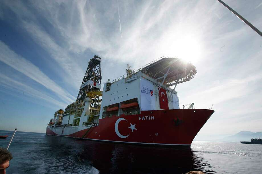 In this photo taken on Tuesday, Oct. 30, 2018, Turkey's new drillship 'Conquerer' is seen off the coast of Antalya, southern Turkey.  Photo: Lefteris Pitarakis, AP / Copyright 2018 The Associated Press. All rights reserved