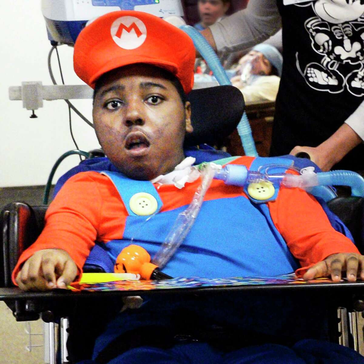 Isiah Julius, 12, wears his Super Mario costume during the 7th annual Halloween parade for pediatric unit patients at Pathways Nursing and Rehabilitation Wednesday Oct. 31, 2018 in Niskayuna, NY. (John Carl D'Annibale/Times Union)