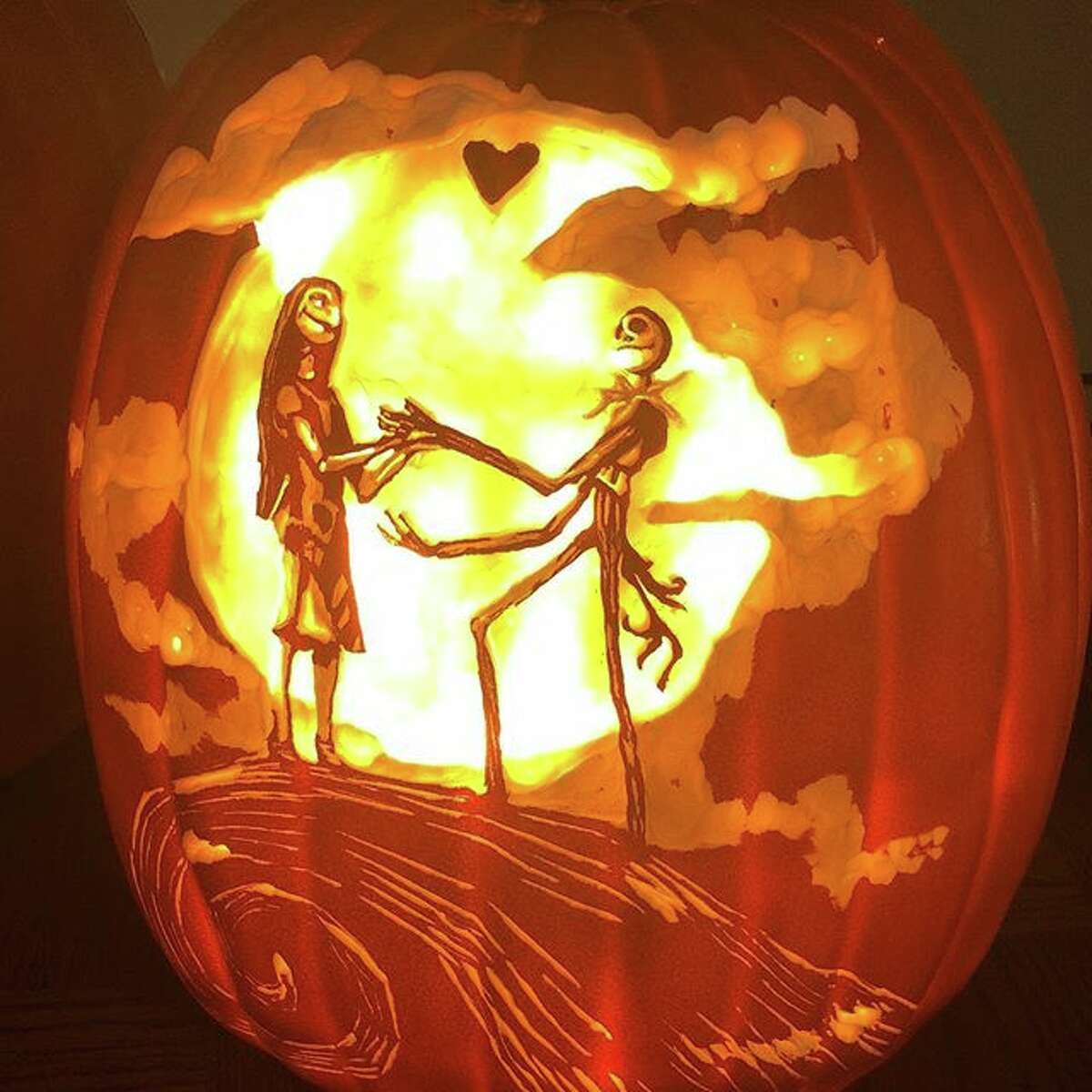 """Courtney Wunder spends as much as eight hours carving complex designs in foam pumpkins for Halloween. This year, she created pumpkins with """"The Nightmare Before Christmas"""" and """"Harry Potter"""" themes, among other pop culture references."""