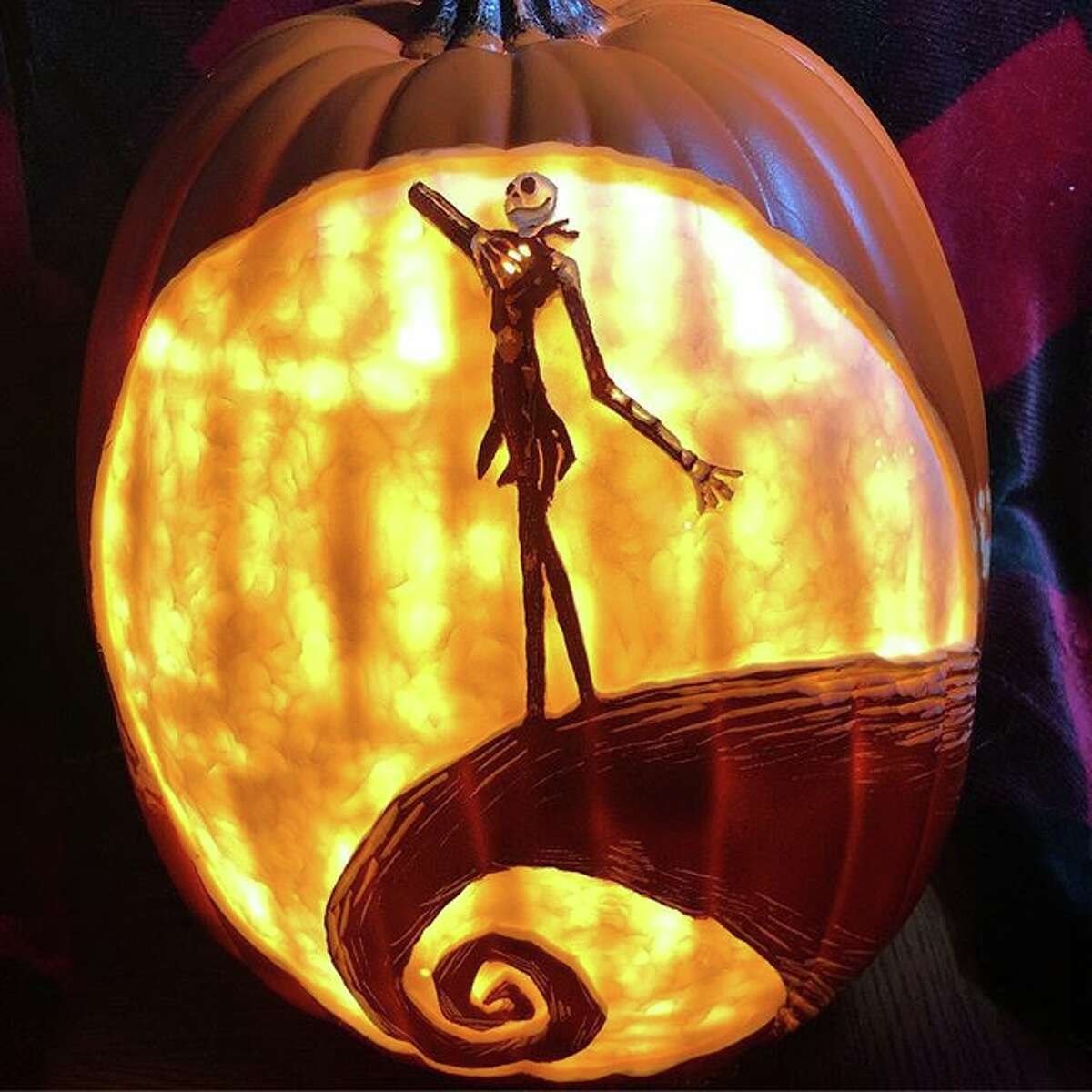 """PHOTOS: Houston woman creates intricate pumpkin designs with pop culture themes Courtney Wunder spends as much as eight hours carving complex designs in foam pumpkins for Halloween. This year, she created pumpkins with """"The Nightmare Before Christmas"""" and """"Harry Potter"""" themes, among other pop culture references. >>> See more designs from Wunder's Instagram"""