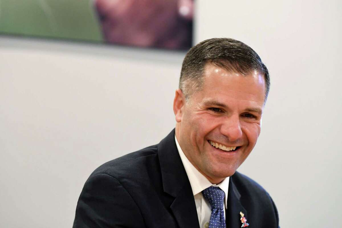 Republican gubernatorial candidate Marc Molinaro speaks to the Times Union editorial board on Wednesday, Oct. 31, 2018, in Colonie, N.Y. (Will Waldron/Times Union)
