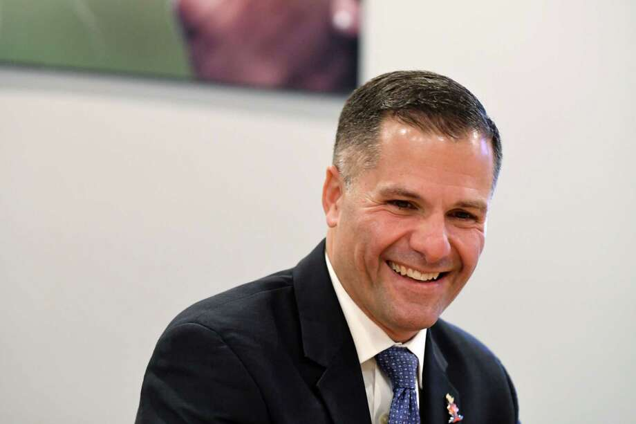 Republican gubernatorial candidate Marc Molinaro speaks to the Times Union editorial board on Wednesday, Oct. 31, 2018, in Colonie, N.Y. (Will Waldron/Times Union) Photo: Will Waldron, Albany Times Union
