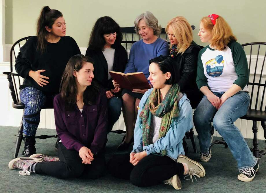 The cast of the Ivoryton play, from back left, includes Bethany Fitzgerald, Bonnie Black, Ellen Barry, Gerrianne Genga, Jes Bedwinek and, in front, Anna Fagan and Sarah Jo Provost. Photo: Jacqui Hubbard / Contributed Photo
