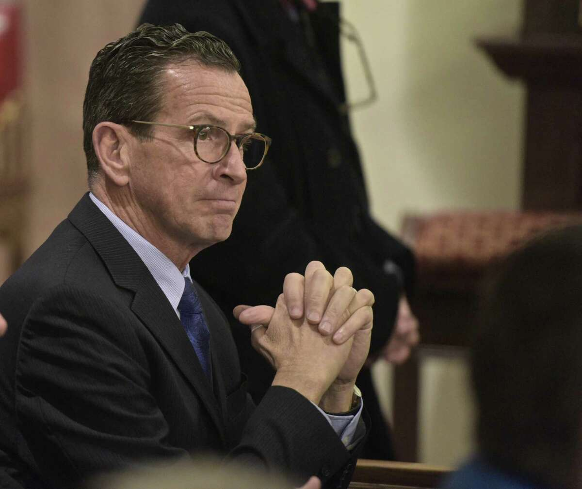 Gov. Dannel Malloy at St. Rose of Lima church in Newtown in 2017.