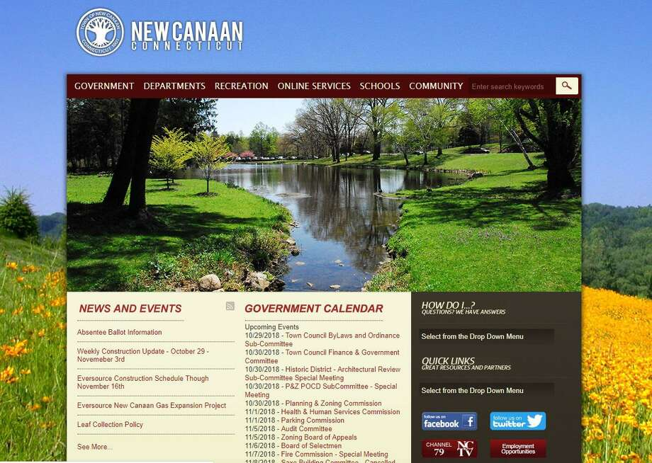 The current New Canaan town website. Photo: Humberto J. Rocha / Hearst Connecticut Media / New Canaan News