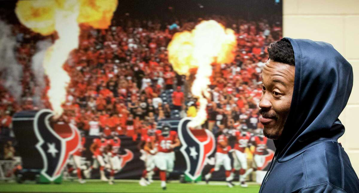 Houston Texans wide receiver Demaryius Thomas leaves the podium following a news conference at NRG Stadium on Wednesday, Oct. 31, 2018, in Houston. Thomas was aquired by the Texans in an NFL trade deadline deal with the Denver Broncos.
