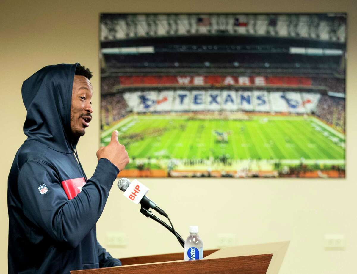 Houston Texans wide receiver Demaryius Thomas speaks to the media during a news conference at NRG Stadium on Wednesday, Oct. 31, 2018, in Houston. Thomas was aquired by the Texans in an NFL trade deadline deal with the Denver Broncos.