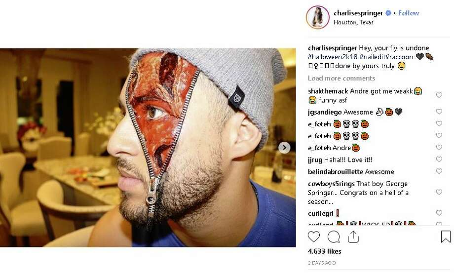 Astros George Springer sports a zipper on the side of his face. Photo: Charlise Springer Instagram