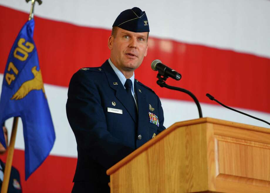 U.S. Air Force Col. Robert Pekarek, 47th Operations Group commander, speaks during the 47th OG Assumption of Command at Laughlin Air Force Base, Tx., June 22, 2017. Photo: /U.S. Air Force Photo /Airman 1st Class Benjamin N. Valmoja