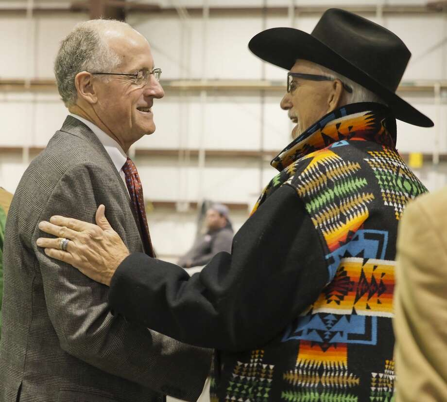 U.S. Rep Mike Conaway talks with Danny Kennedy 10/31/18 during a campaign stop at the George H.W. Bush Commemorative Center at the CAF for Senator Ted Cruz. Tim Fischer/Reporter-Telegram Photo: Tim Fischer/Midland Reporter-Telegram