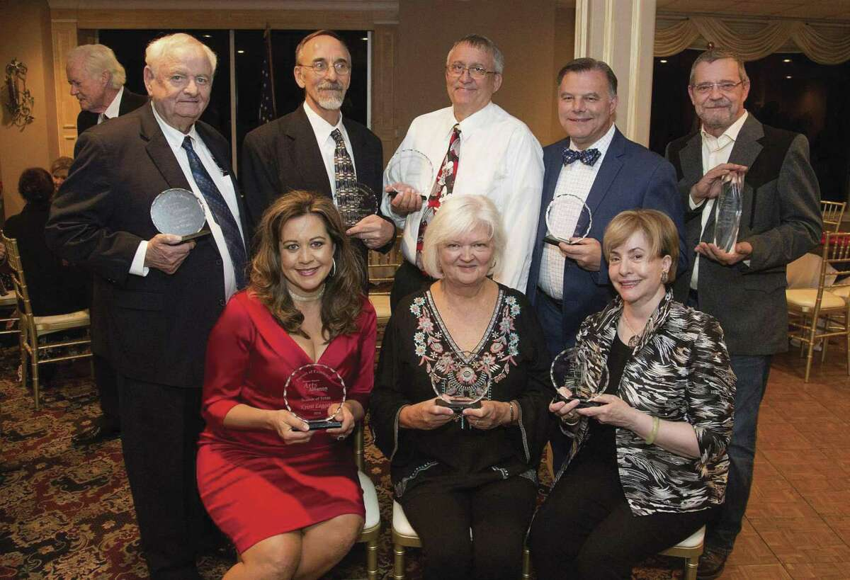 Pictured are the 2018 Pursuit of Excellence Award winners who were recognized by the Greater Conroe Arts Alliance on Oct. 25. Seated from left to right are Kristi Leggett - Sounds of Texas Music Series; Kerry Conkling - Conroe Art League and Dianne Logan - Montgomery County Literary Arts Council; Back row from left, Jim Walker - Friends of the Flag Foundation; Roger Ormiston representing Mark Wilson for The Players Theatre Company; Bob Price - Jazz Connection; Craig Stephan respresenting Debbie Templet for the Montgomery County Choral Society; and Craig Campobella, 2018 Visionary Award Winner. Other winners not pictured here are Mary Yost, Nancy Johnson, Joe Kolb, Emery and Liz Heuermann, Larry Foerster and Garlaine Kelly and Mimi Sadler.