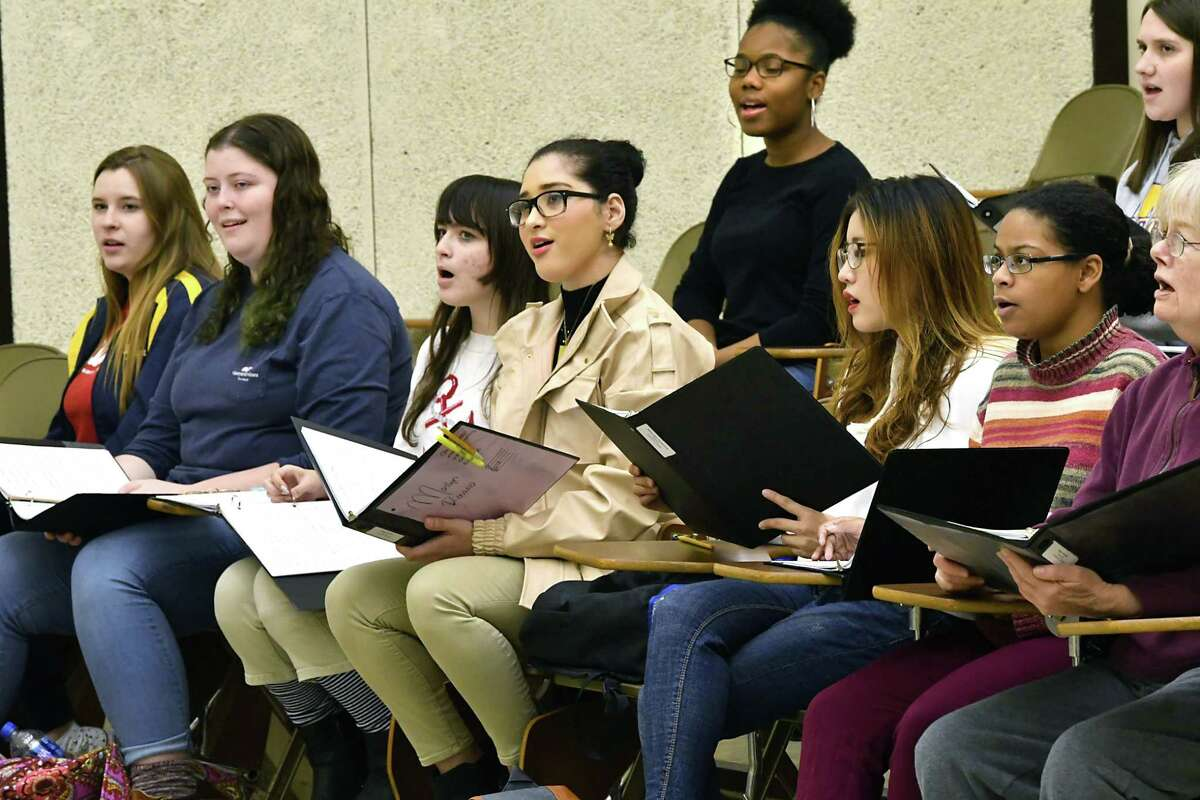 The University Chorale rehearses for an upcoming concert featuring music inspired in response to gun violence at the University at Albany Performing Arts Center on Tuesday, Oct. 23, 2018 in Albany, N.Y. (Lori Van Buren/Times Union)