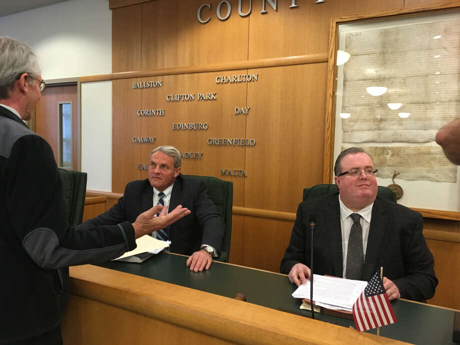 Saratoga County Administrator Spencer Hellwig, left, and Chair of the County's Finance Committee Kevin Tollisen talk about the 2019 proposed budget. Photo: Wendy Liberatore/Times Union