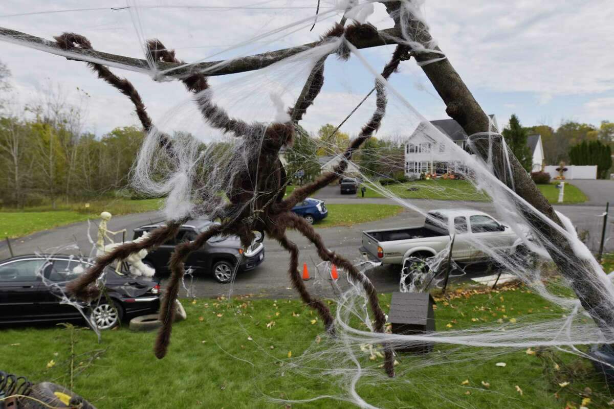 A view of the Halloween decorations at the home of Paul and Dawn Castle on Wednesday, Oct. 31, 2018, in East Greenbush, N.Y. Paul Castle has been doing large elaborate Halloween decorations for the past 18 years. Paul and his wife and family members had to wait until 7:45am Halloween morning to start setting up because Paul did not want the area children to see what his home would look like until after school. (Paul Buckowski/Times Union)