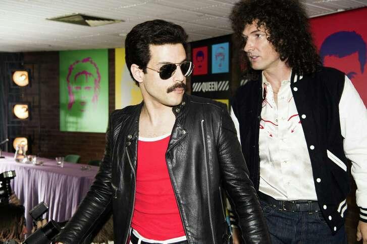 "Rami Malek, left, and Gwilym Lee in a scene from ""Bohemian Rhapsody."""