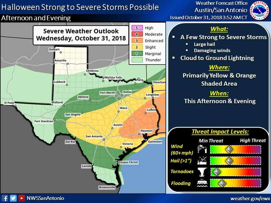 Severe thunderstorms are expected to affect San Antonio on Halloween night. Photo: National Weather Service