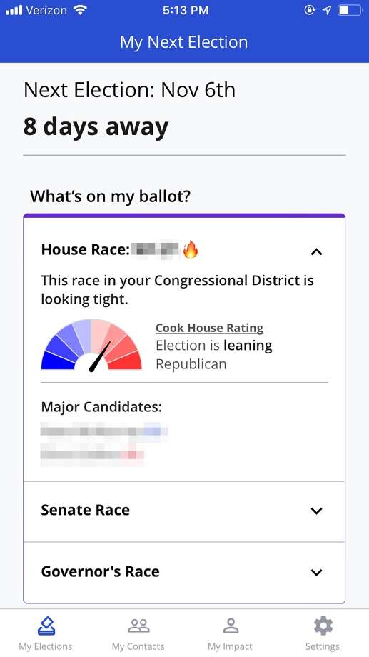 When you download Vote With Me — which is available for both Android and iOS devices — you'll be asked for some basic information about yourself. This allows the app to pull your voting information.  Vote With Me will provide all the pertinent information about the House, Senate, and Governor's races in your state and district, including who's running and whether the race is expected to be close. Photo: Business Insider