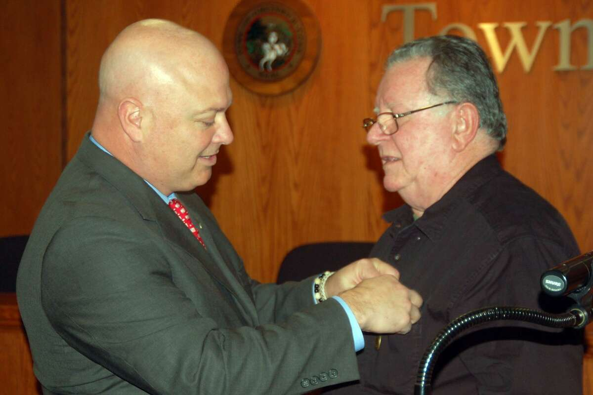 Calling them all heroes, State Rep. Michael Bocchino helped honor veterans at a special medal ceremony at Town Hall on Tuesday. He pinned a Connecticut Wartime Medal to the chest of Ronald Pucci a veteran of the Vietnam War.