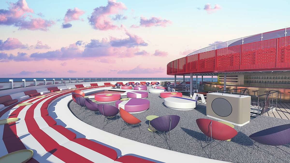 On deck you'll find adult style lounge areas- no slides or kiddie pools